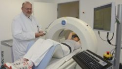 Photo: Prof. Wolgang Burchert with the new gamma camera