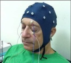 Image: A man, who is wearing a cap with EEG-electrodes. Other electrodes are attached on his face over and under his closed eyes; Copyright: savir-center.com