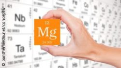 Photo: a hand holds a sign for magnesium