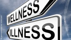 "Photo: Signposts pointing to ""wellness"" and ""illness"""