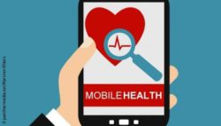 "Image: Illustration of a smartphone with a heart with a magnifying glass and the inscription ""Mobile Health"" on its display; Copyright: panthermedia. net/Karsten Ehlers"