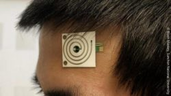 Image: wearable placed on the forehead of a man; Copyright: Bizen Maskey, Sunchon National University