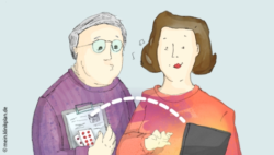 Image: Drawing of a man and woman talking about a medication plan; Copyright: mein.klinikplan.de