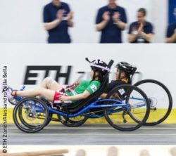Photo: Two people on rebumbent bikes in a race; Copyright: ETH Zurich/Alessandro Della Bella