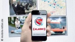 Graphic: Hand holds a smartphone, four pictures in the background with rescue situations