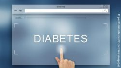 "Image: A finger pointing at a sign with the word ""diabetes""; Copyright: panthermedia.net/pichet wissawapipat"