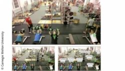 Image: three images of a crowded gym, two of them with information about the people's exercises; Copyright: Carnegie Mellon University