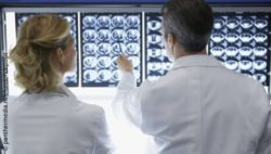 Image: View over the shoulder of two doctors standing in front of a wall with CT images of the brain; Copyright: panthermedian.net