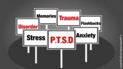 Image: signs showing terms related to post-traumatic stress disorder; Copyright: panthermedia.net/Jacqueline2