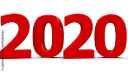 Picture: Year 2020, written in big red letters on white background; Copyright: panthermedia.net/Oakozhan