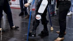 Image: Man using an exoskeleton; Copyright: Messe Düsseldorf