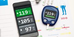 Image: Glucometer next to a smartphone that shows the blood glucose level; Copyright: panthermedia.net/simpson33