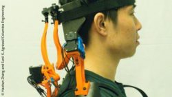 Image: study participant wearing the robotic neck brace; Copyright: Haohan Zhang and Sunil K. Agrawal/Columbia Engineering