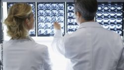 Image: two physicians looking at MRI brain scans; Copyright: panthermedia.net/Craig Robinson