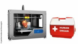 Image: 3D printer with a human heart inside, next to a box with