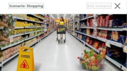 Image: Screenshot from an app showing a woman with a shopping cart in an aisle of a supermarket; Copyright: Allergan