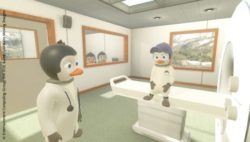 Image: Screenshot of the VR app: a small penguin sitting on the treatment table of the MRI device; Copyright: Entertainment Computing Group, Uni DUE & LAVAlabs Moving Images