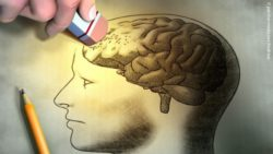 Image: Drawing of the human head, where one hand erases the brain; Copyright: panthermedia.net/Andreus