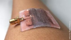 Image: wearable antennae on an arm; Copyright: Huanyu Cheng, Penn State